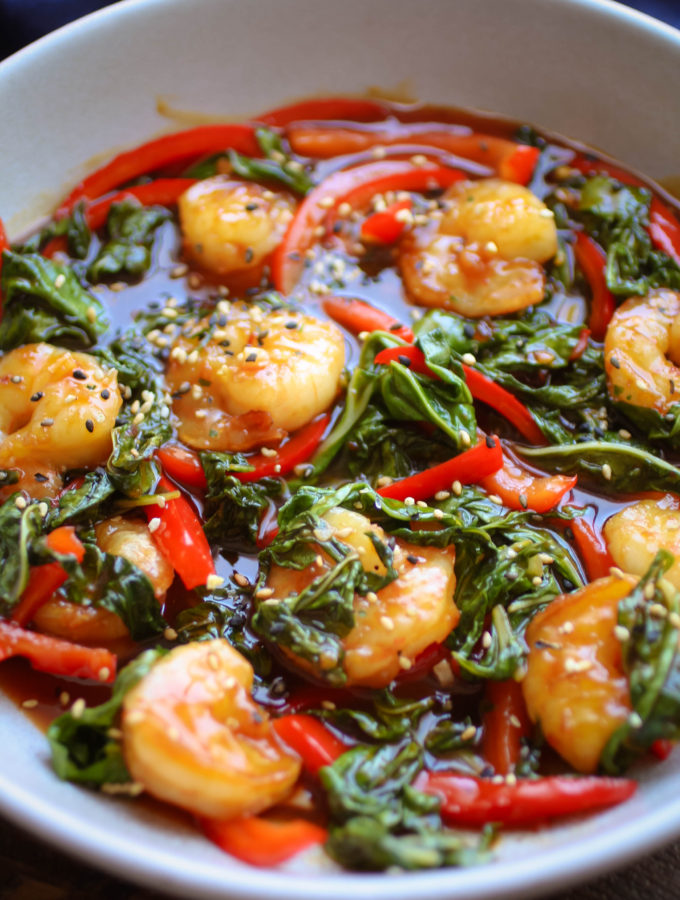 Spicy Garlic Shrimp and Swiss Chard Stir Fry is an easy-to-make, tasty dish!