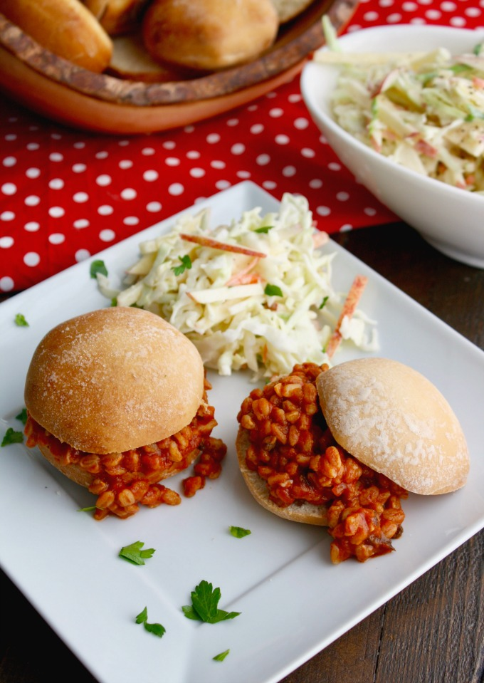 You'l love these meatless sandwiches perfect for any event: Spicy Sloppy Farro Joes with Creamy Cabbage-Apple Slaw!