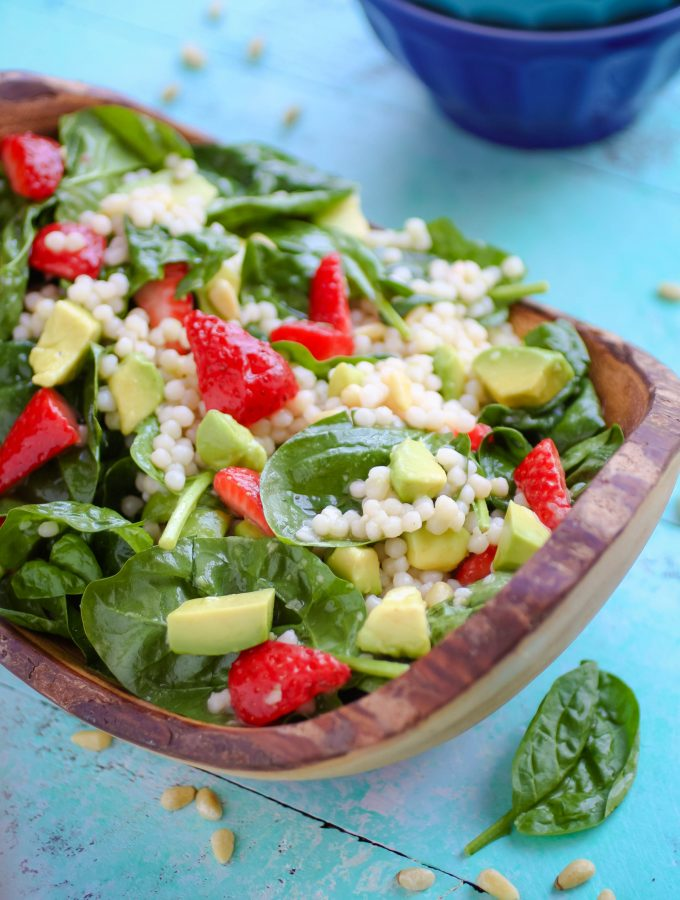 Spinach and Couscous Salad with Strawberries, Avocado & Honey-Lime Dressing
