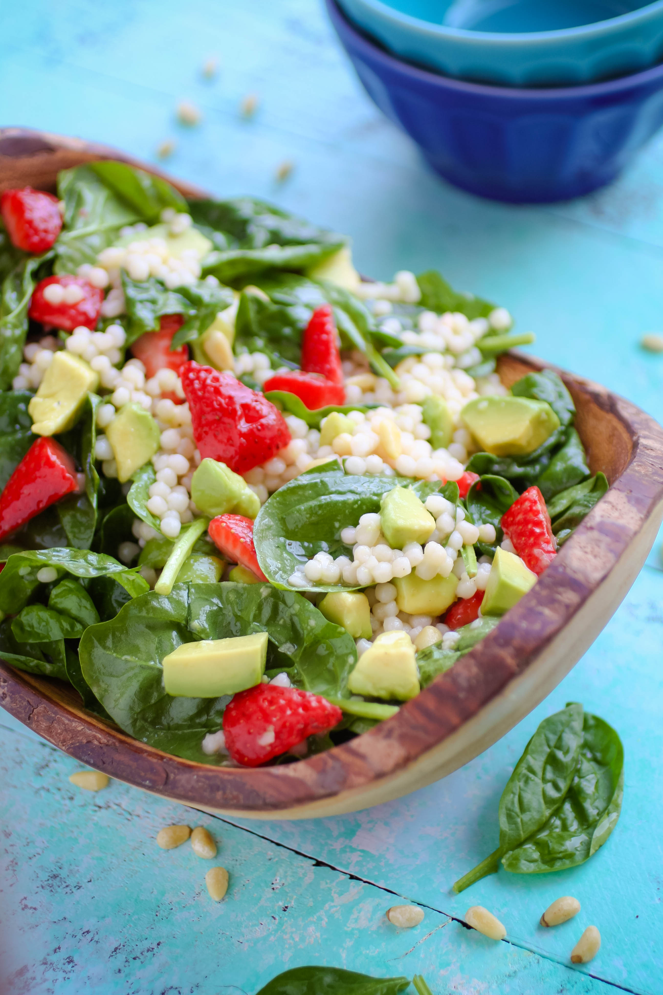 Spinach and Couscous Salad with Strawberries, Avocado & Honey-Lime Dressing is a fabulous salad for the season. Everyone will love Spinach and Couscous Salad with Strawberries, Avocado & Honey-Lime Dressing.