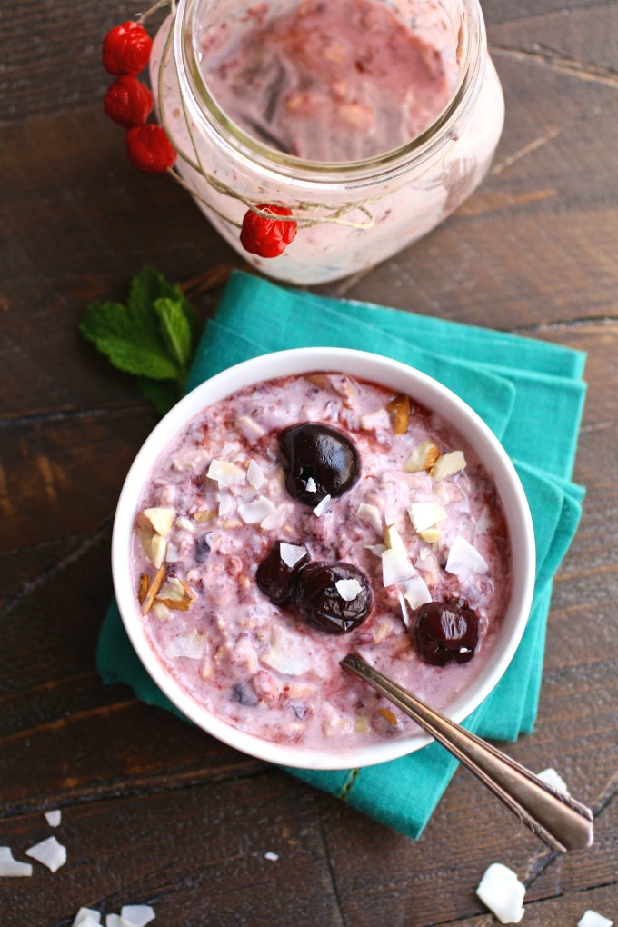 Enjoy a filling and easy to make breakfast: Cherry, Almond & Coconut Overnight Oats with Chia