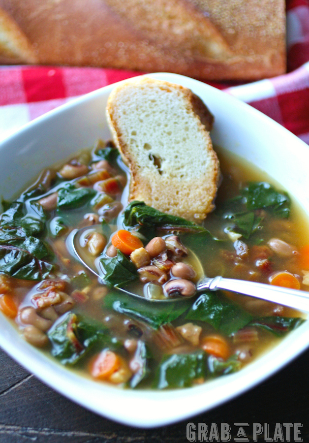 Spoonful of Black Eyed Peas & Swiss Chard Soup w Pancetta