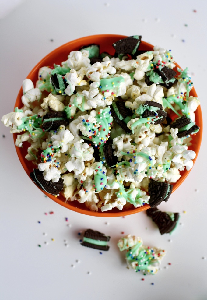 St. Patrick's Day Mint-Chocolate Popcorn Snack is one you'll want a few handfuls of! It's a fun way to celebrate the day!