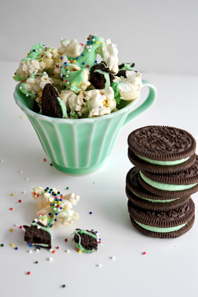 St. Patrick's Day Mint-Chocolate Popcorn Snack adds a bit of green to your day! It's a fun way to celebrate!