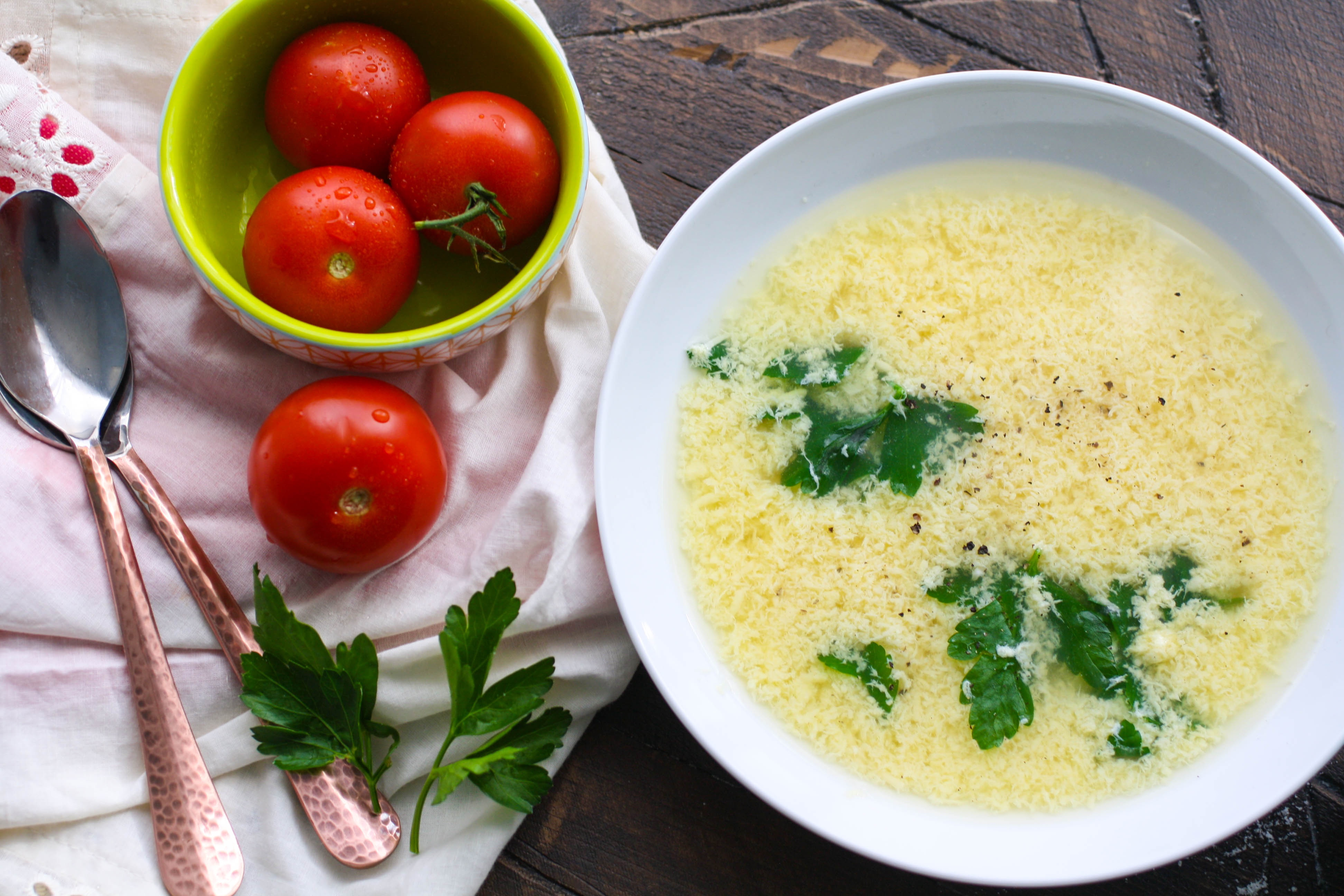 Stracchiatella soup (Italian egg drop soup) is a wonderfully simple dish to warm you! You'll love this simple stracchiatella soup!