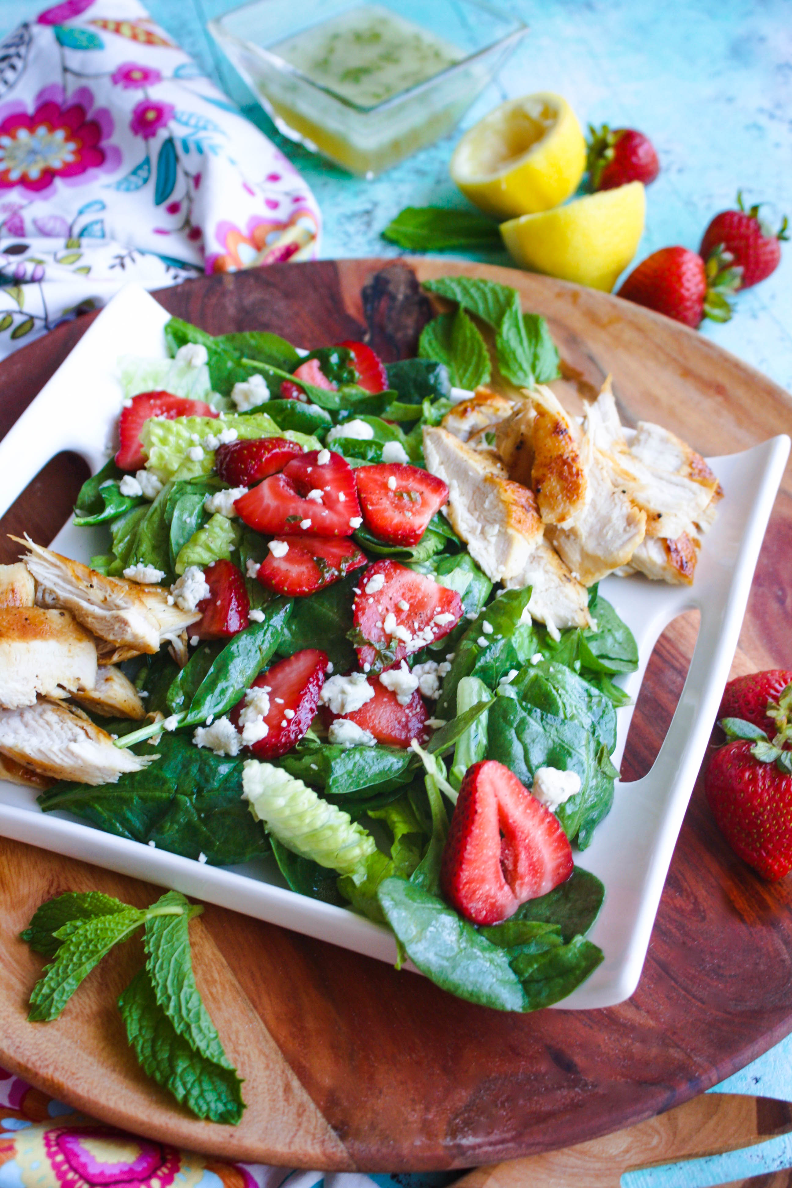Chicken Salad with Strawberries and Honey-Lemon Mint Dressing is a fabulous, no-fuss meal. You'll love the touch of sweetness from the strawberries and the lemon.