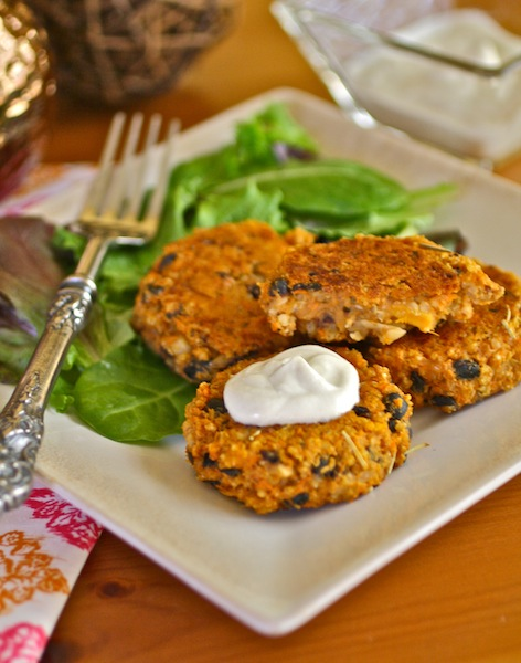 Sweet Potato, Black Bean, and Quinoa Cakes with a dollop of cream