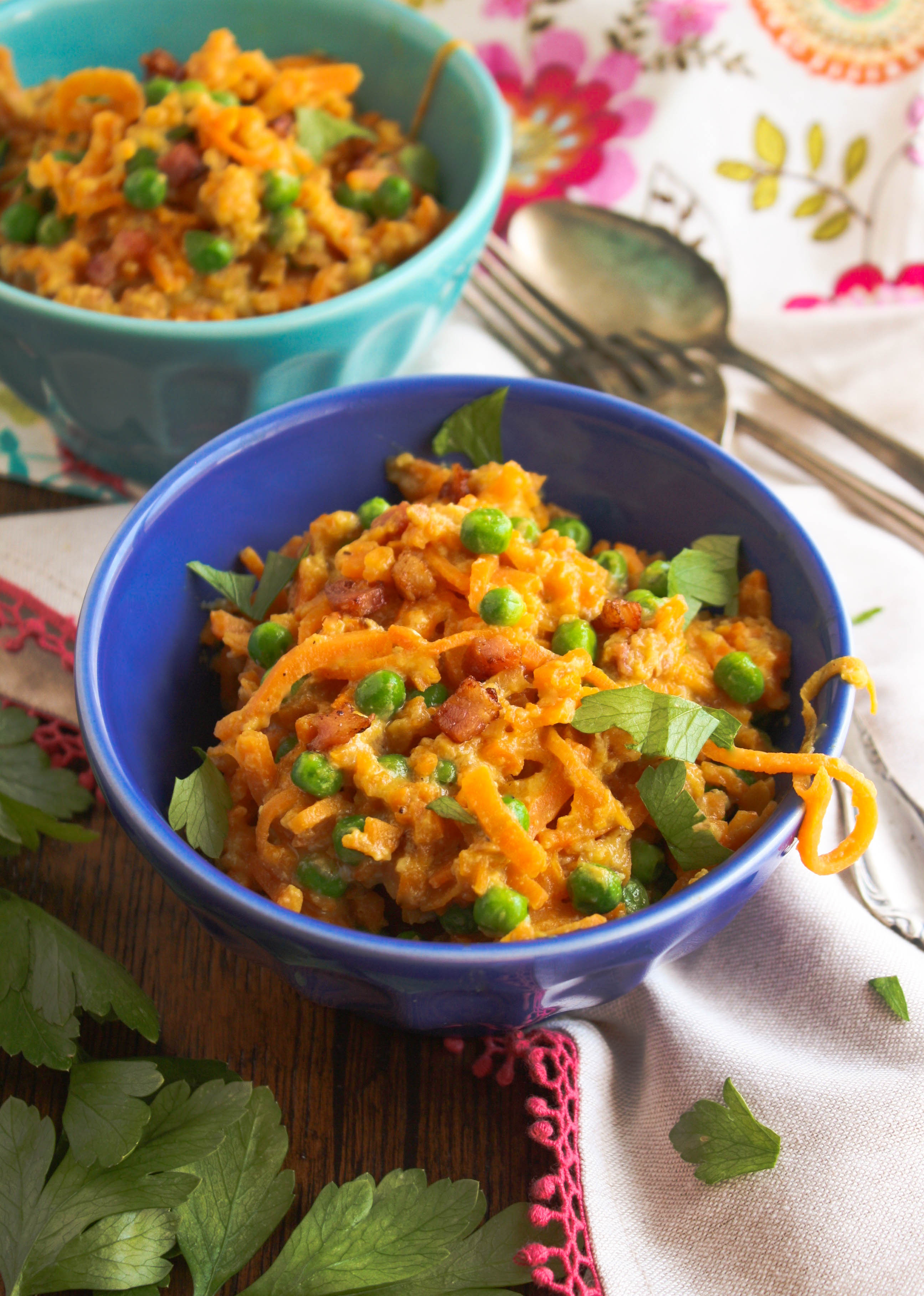 "Sweet potato carbonara is a take on tradition. Use sweet potato ""noodles"" instead of pasta for this delicious dish!"