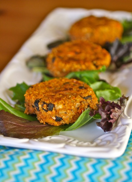 A plate of Sweet Potato, Black Bean, and Quinoa Cakes