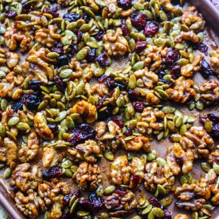 Pan of Sweet, Spicy & Citrus Roasted Walnut Mix for a great snack!