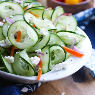 Sweet and Tangy Cucumber Ribbon Salad is a delightfully simple dish. You'll love the fresh flavors in this salad.