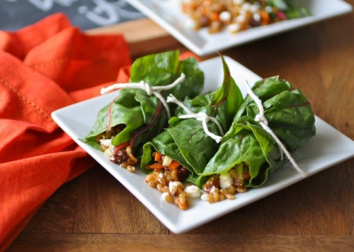 Swiss Chard Rolls with Wheat Berry Salad