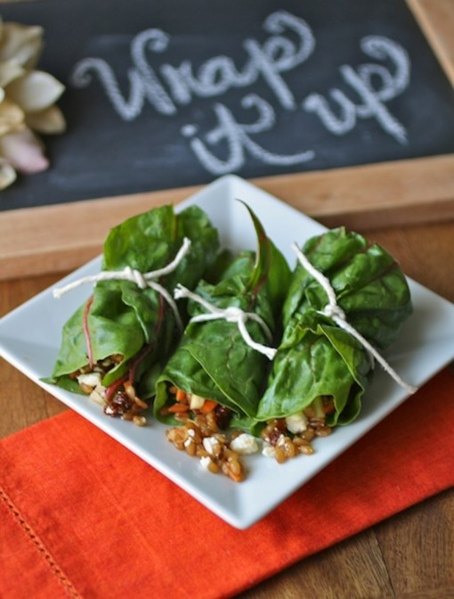 A trio of Swiss Chard Rolls with Wheat Berry Salad