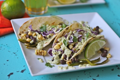 Meatless tacos: Grilled Corn, Peppers & Black Bean Tacos with Creamy Poblano Sauce