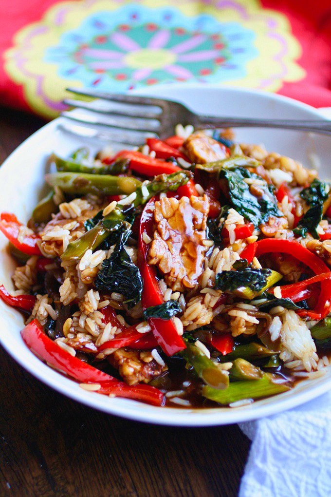 Tempeh and Vegetable Stir-Fry in Teriyaki Sauce makes a great meal for any night of the week! It's a meatless dish you can serve anytime.