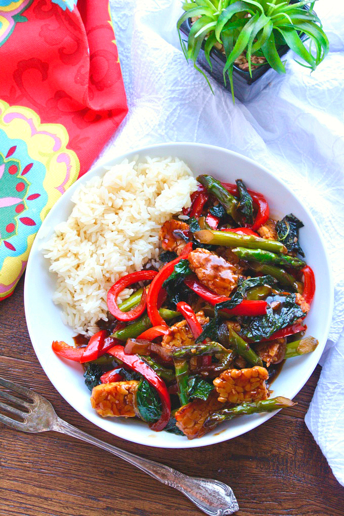Tempeh and Vegetable Stir-Fry in Teriyaki Sauce is a delicious and colorful meatless meal. It's easy to make, too, which is welcome anytime!