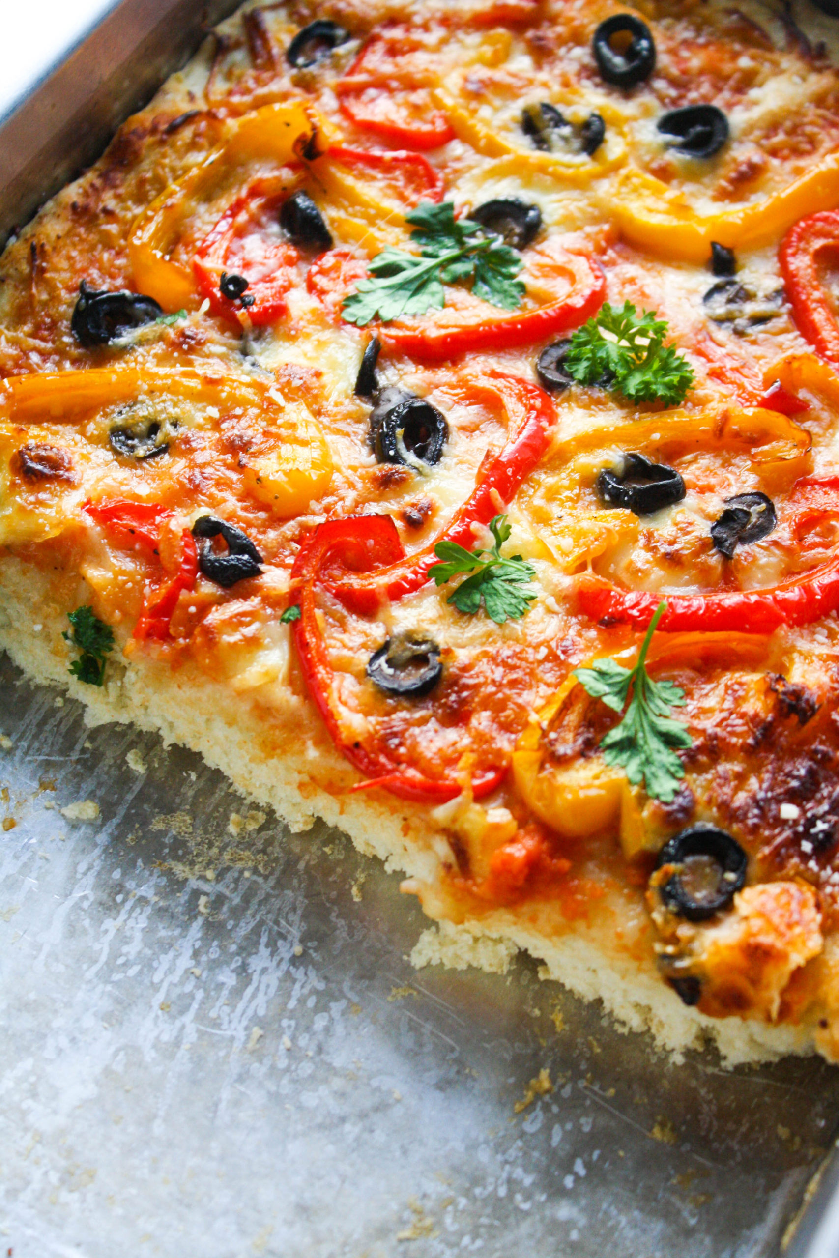 Slice into Thick Crust Bell Pepper and Olive Pizza!