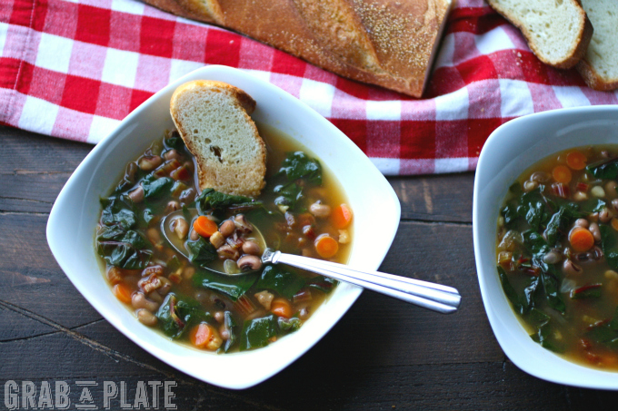Black-Eyed Pea & Swiss Chard Soup with Pancetta is a delicious (and easy-to-make) dish for the season.