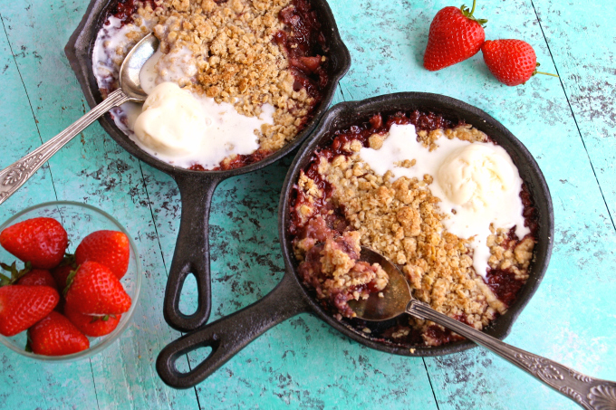 Perfect for date night -- or any night -- Strawberry-Rhubarb Crumble for Two is quite a seasonal treat!