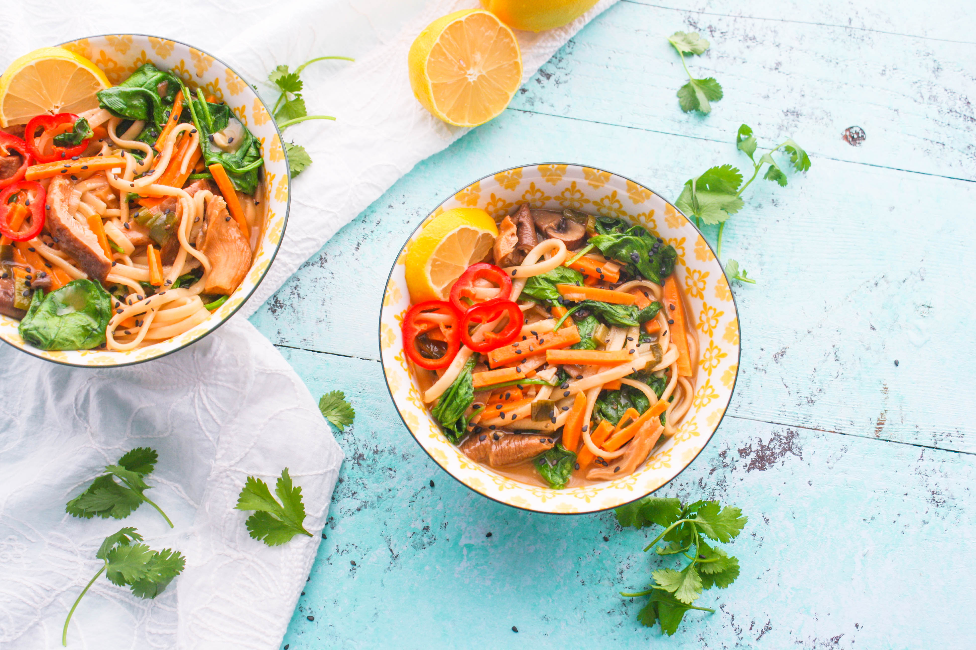Udon Noodle Bowls with Mushroom, Sweet Potato & Spinach are easy to make at home (and so tasty)! You'll love sharing these Udon Noodle Bowls with Mushroom, Sweet Potato & Spinach with your family and friends!