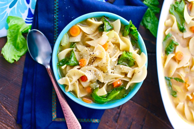 There's nothing like hot soup to help cure your ills! Vegetable Noodle Soup with Greens will do the trick (and it's delicious, too)!