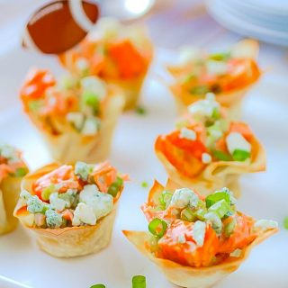 Buffalo Tempeh Wonton Cups are super-tasty as an appetizer anytime. These Vegetarian Buffalo Tempeh Wonton Cups make a fabulous snack!