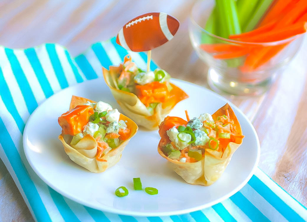 Vegetarian Buffalo Tempeh Wonton Cups make the perfect snack anytime. Vegetarian Buffalo Tempeh Wonton Cups are a meatless appetizer everyone will love.