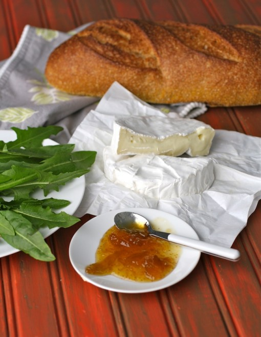 Ingredients for grilled brie, fig jam and dandelion greens sandwiches