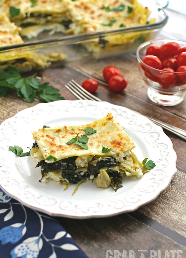 Meatless Monday Spinach, Artichoke and Kale Lasagna