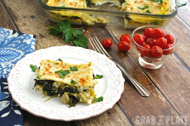Spinach, Artichoke and Kale Lasagna is pretty, and flavorful