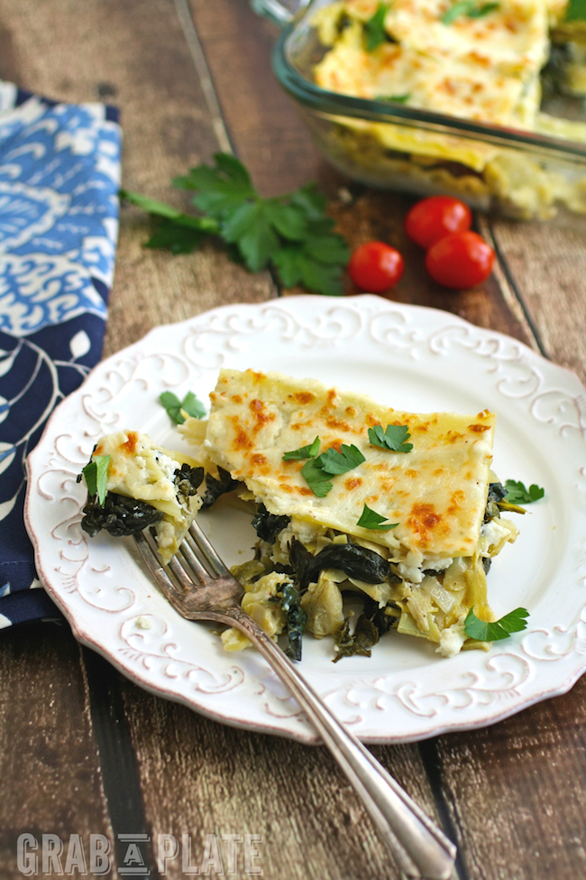 You'll enjoy every bite of Spinach, Artichoke and Kale Lasagna