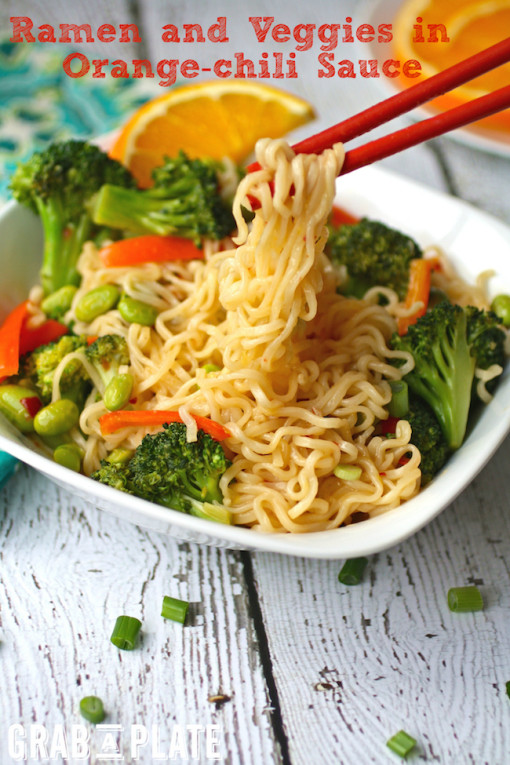 Dig into a bowl of Ramen and Veggies in Orange-Chili Sauce for easy-to-make comfort food