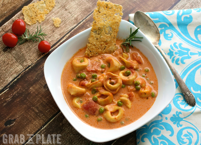 Try a satisfying soup as a main dish: Creamy Tomato and Tortellini Soup with Parmesan Sticks