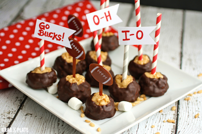Cheer on your team with Crsipy Marshmallow and Almond Butter Buckeyes