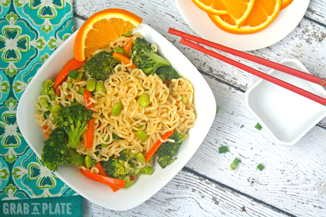 Pile your bowl with Ramen and Veggies in Orange-chili Sauce for a comforting meal