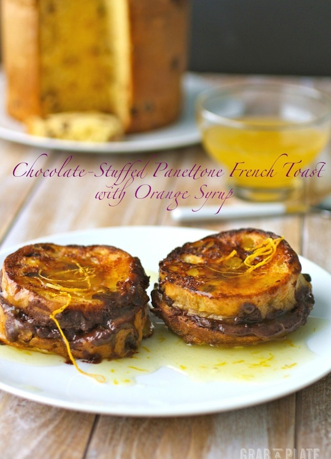 Chocolate-Stuffed Panettone French Toast with Orange Syrup