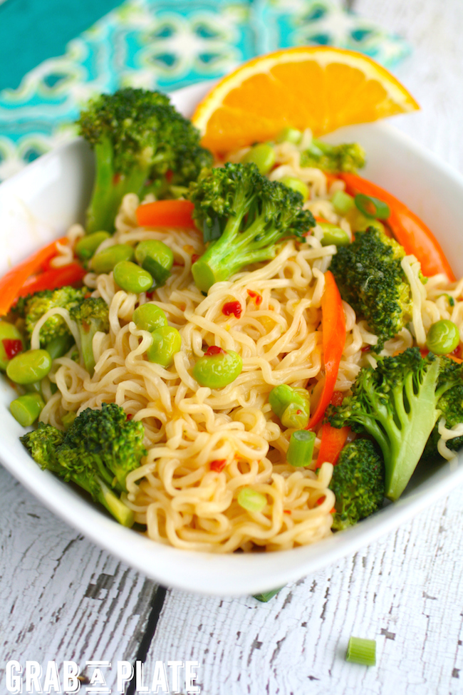 Hot and tasty, a bowl of Ramen and Veggies in Orange-chili Sauce hits the spot