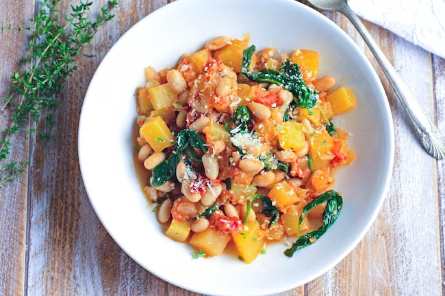 Winter Squash, White Bean & Spinach Sauté is a great dish to serve for your next Meatless Monday meal. You'll love this winter squash dish that is big on flavor and so easy to make!