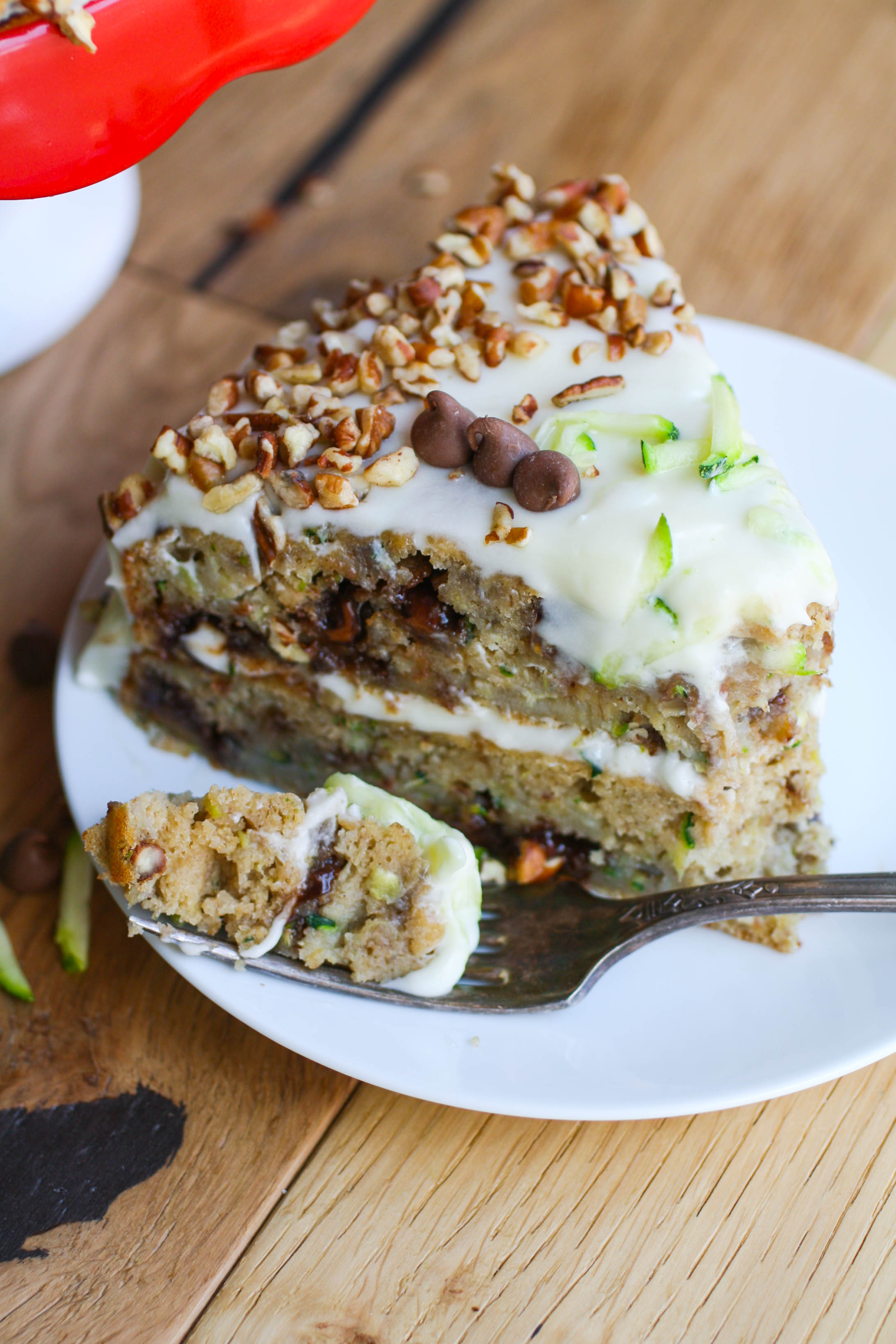 Zucchini-Banana Cake with Cream Cheese Frosting is a cake you'll love! This dessert is quite a treat!
