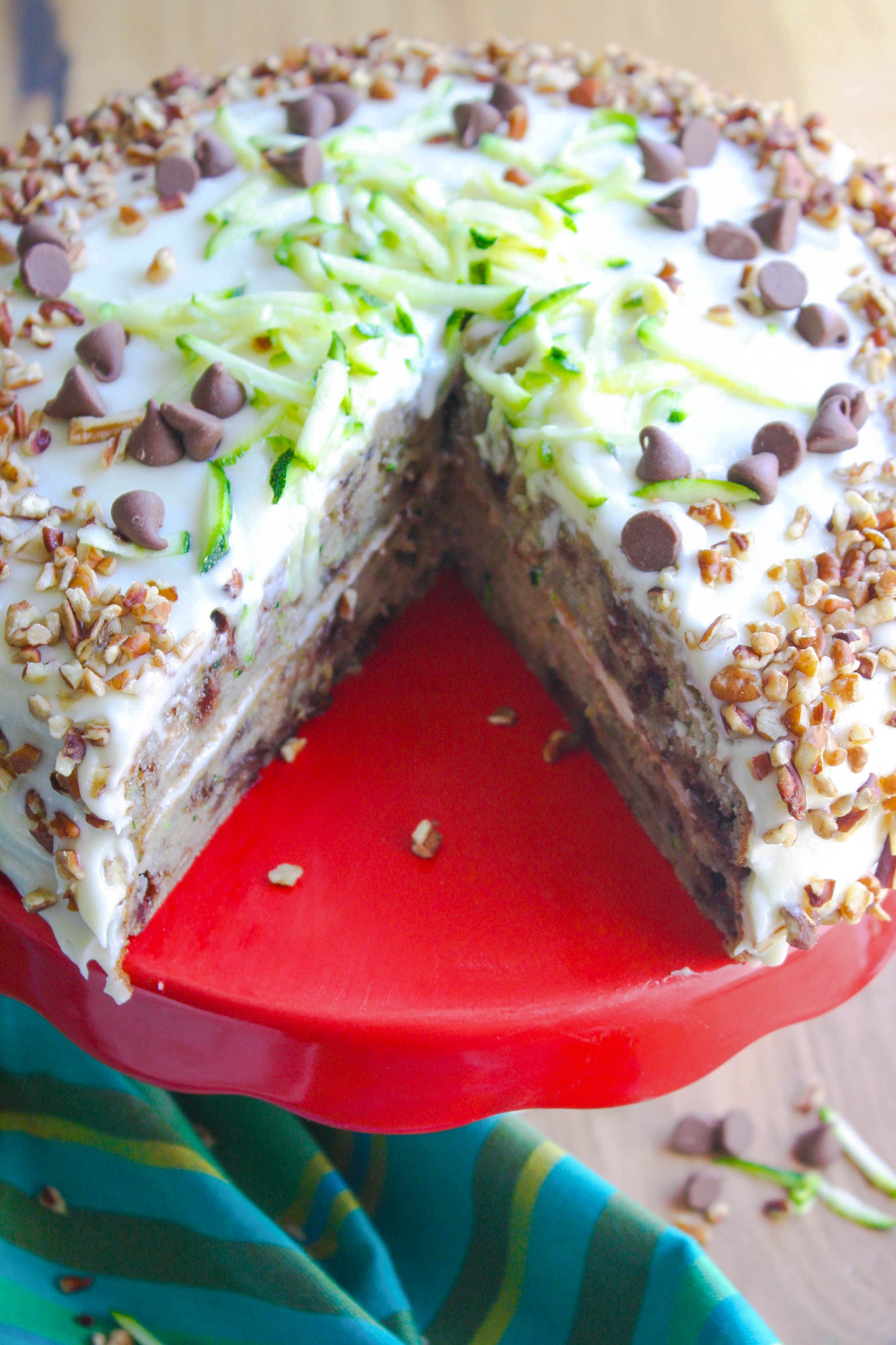 Zucchini-Banana Cake with Cream Cheese Frosting is a fun cake for the summer fun! Use up that zucchini on a wonderful dessert like this!