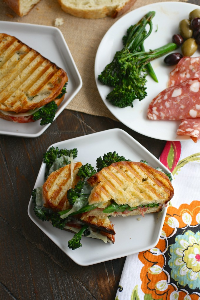 These Broccolini, Salami and Provolone Panini are in no way wimpy, and totally delicious!