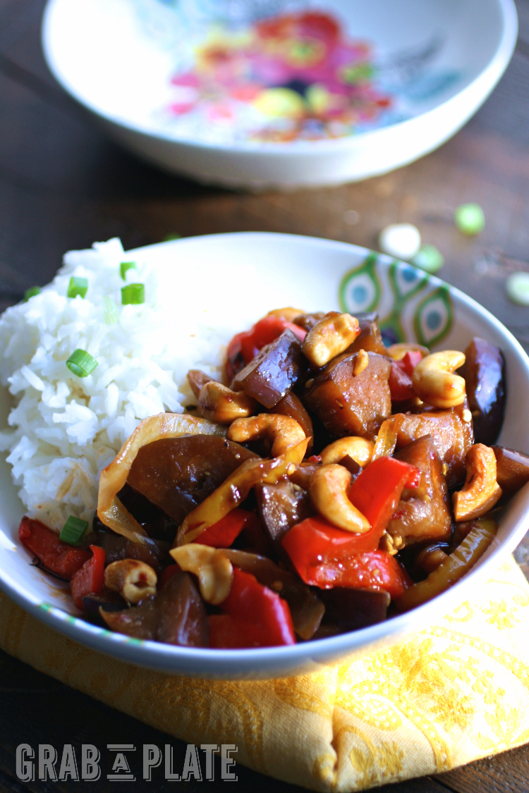 Delight in Spicy Eggplant Stir-Fry with Cashews any night of the week for a hearty, meatless dish!