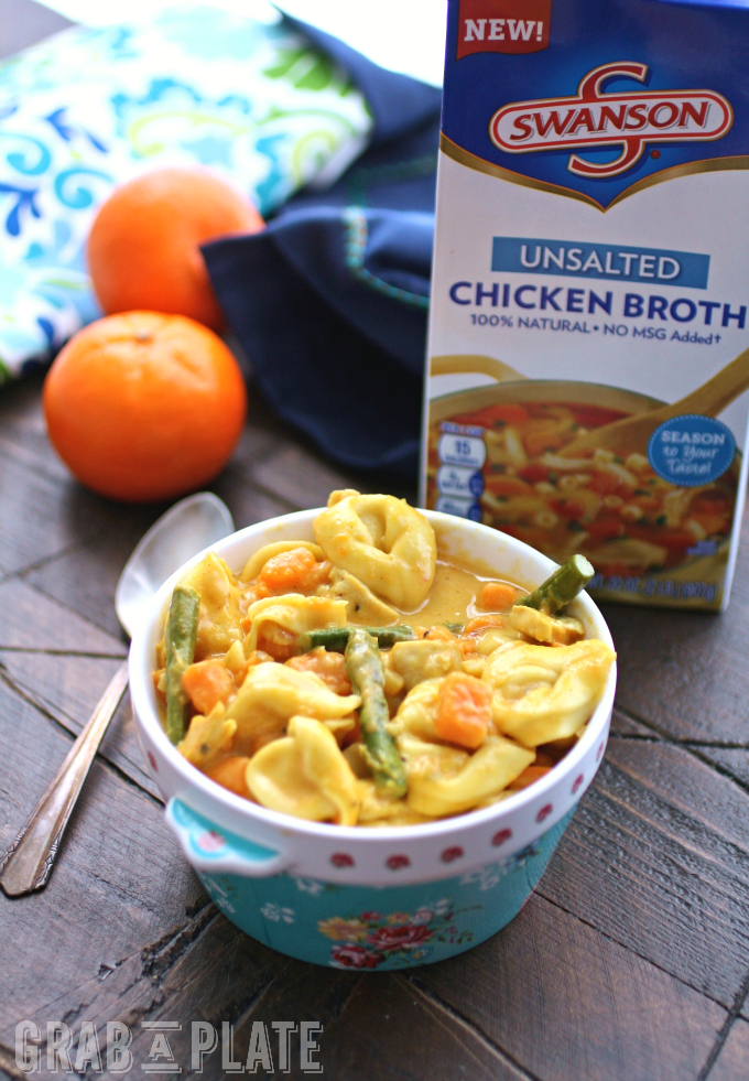 Use broth to create a delicious dish like Curried Vegetable & Chicken Tortellini Soup