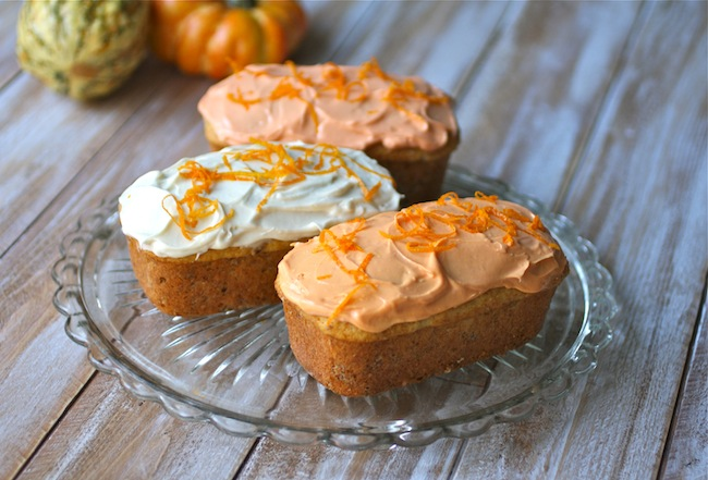 Kahlua Pumpkin Spice Cakes with Cream Cheese Frosting