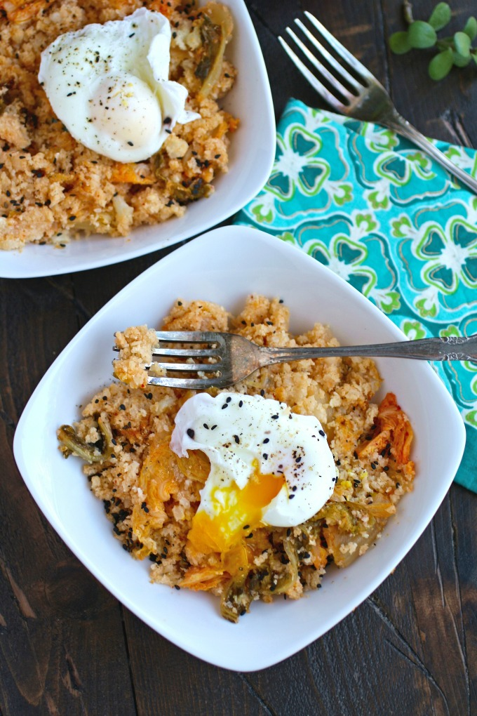 """Ready for a simple, flavorful dish? Try Kimchi and Cauliflower Fried """"Rice"""" with Poached Eggs!"""