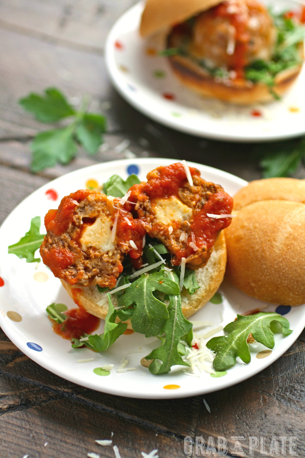Stuff your meatballs! These Mozzarella-Stuffed Meatball Sliders are so tasty!