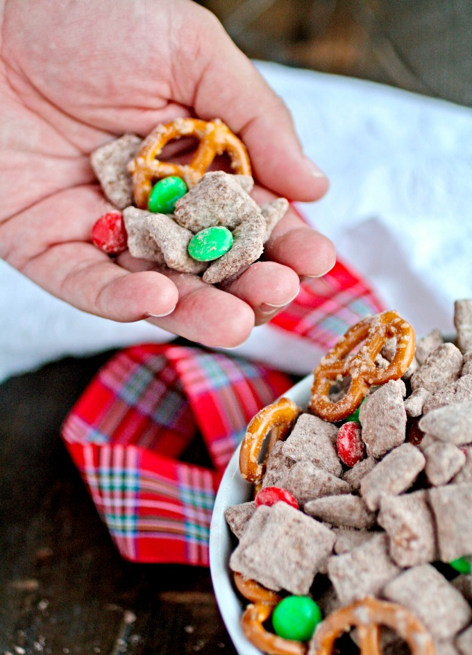 Grab a handful of Chocolate-Cinnamon Reindeer Chow for a fun snack!