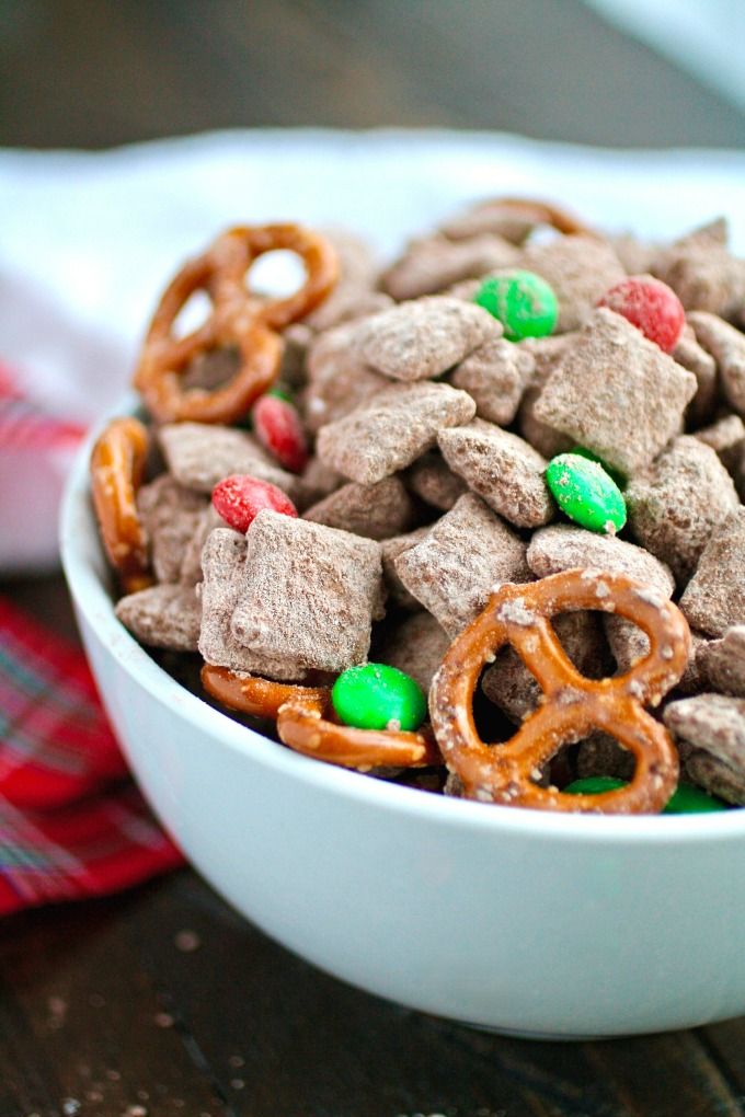 Set out a bowl of Chocolate-Cinnamon Reindeer Chow and watch it disappear!