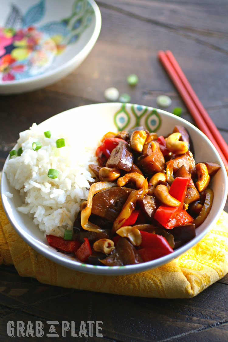Spicy Eggplant Stir-Fry with Cashews is a hearty, meatless dish you'll love any day of the week!