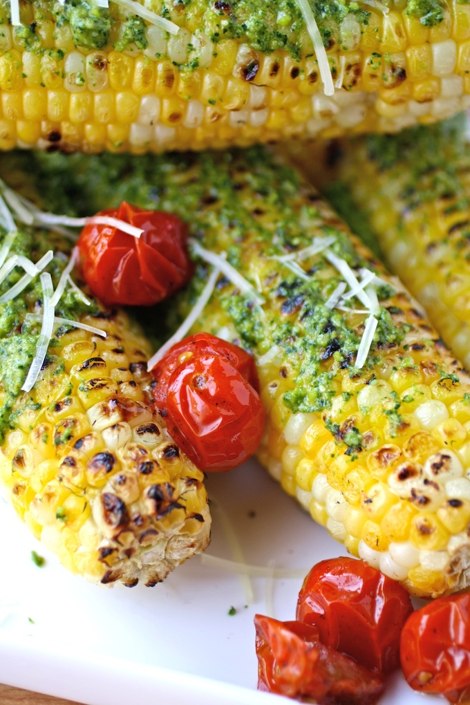 Grilled Corn on the Cob with Kale Pesto is an easy and delicious side!